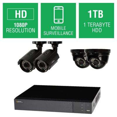 4-Channel 1080p 1TB Full HD Surveillance System with (2) 1080p Bullet Cameras and (2) 1080p Dome Cameras
