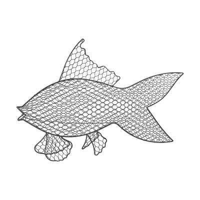 Wire Fish Metal in Gray Wall Decor