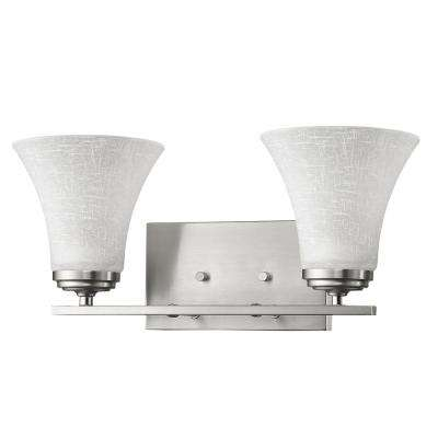 Union 2-Light Satin Nickel Vanity Light with Frosted Glass Shades