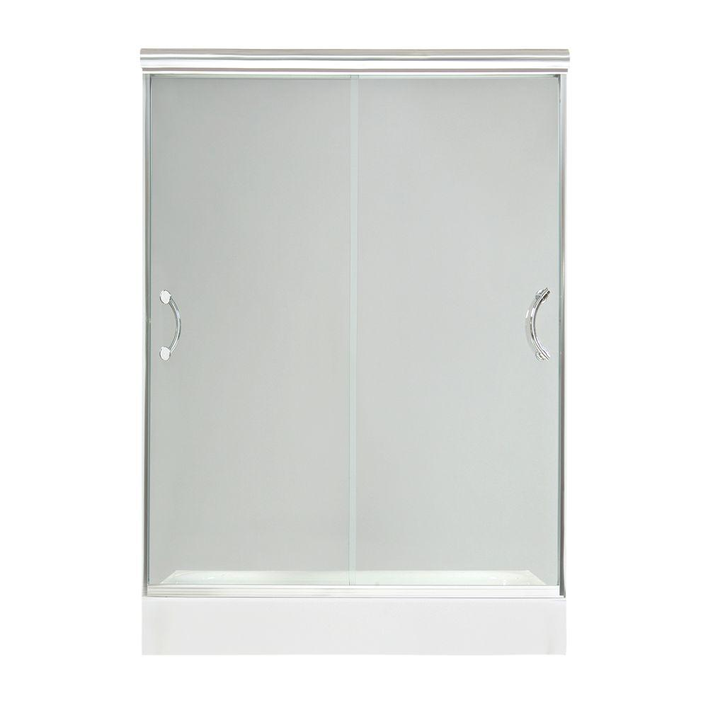 MAAX Luminous 54 in. to 59-1/2 in. W Shower Door in Chrome with 10MM Clear Glass-DISCONTINUED