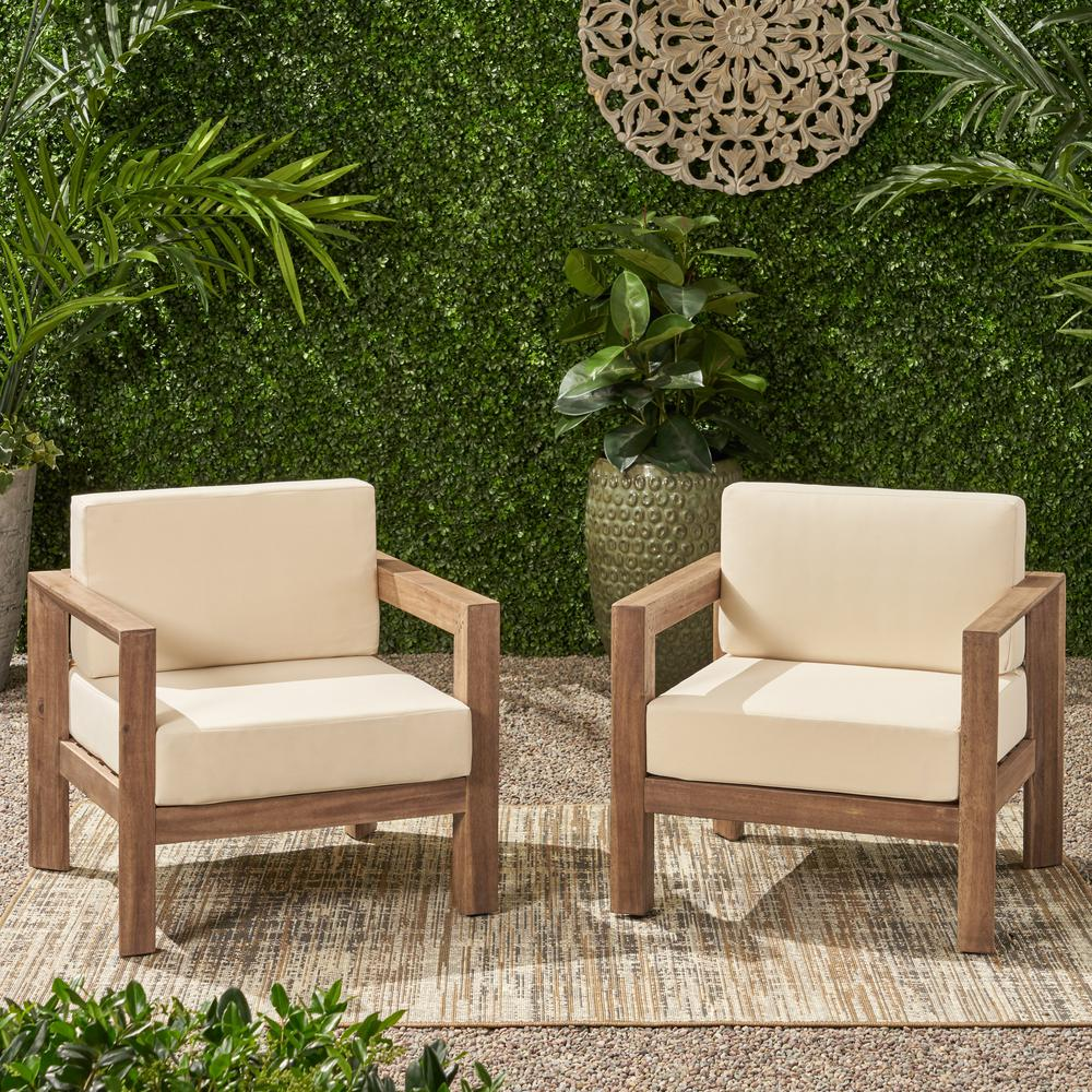 Genser Brown Removable Cushions Wood Outdoor Lounge Chairs with Beige Cushions (2-Pack)