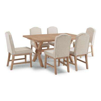 Cambridge White Washed 7 Pc Rectangular Trestle Dining Table Group