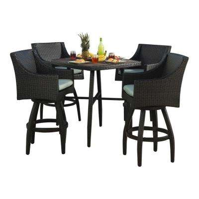 High Quality Deco 5 Piece All Weather Wicker Patio Bar Height ...