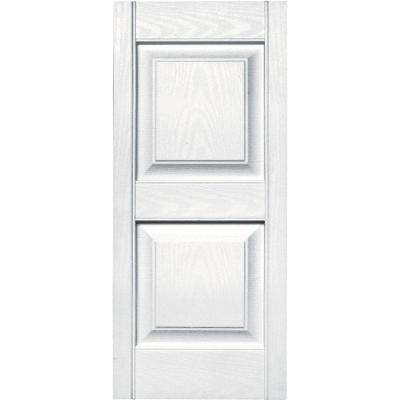 15 in. x 35 in. Raised Panel Vinyl Exterior Shutters Pair in #001 White