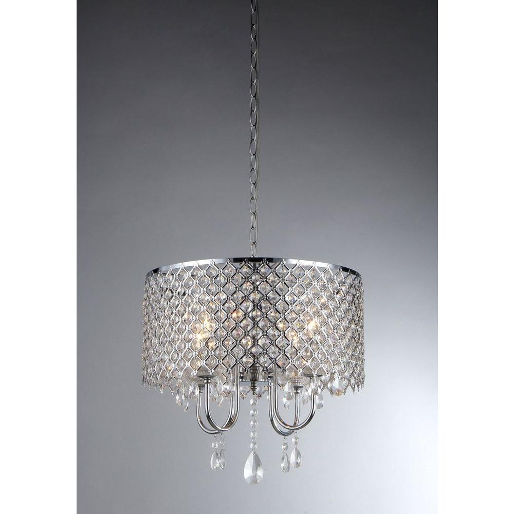Warehouse Of Tiffany Angelina 4 Light Chrome Crystal Chandelier With Shade