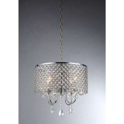 Angelina 4-Light Chrome Crystal Chandelier with Shade