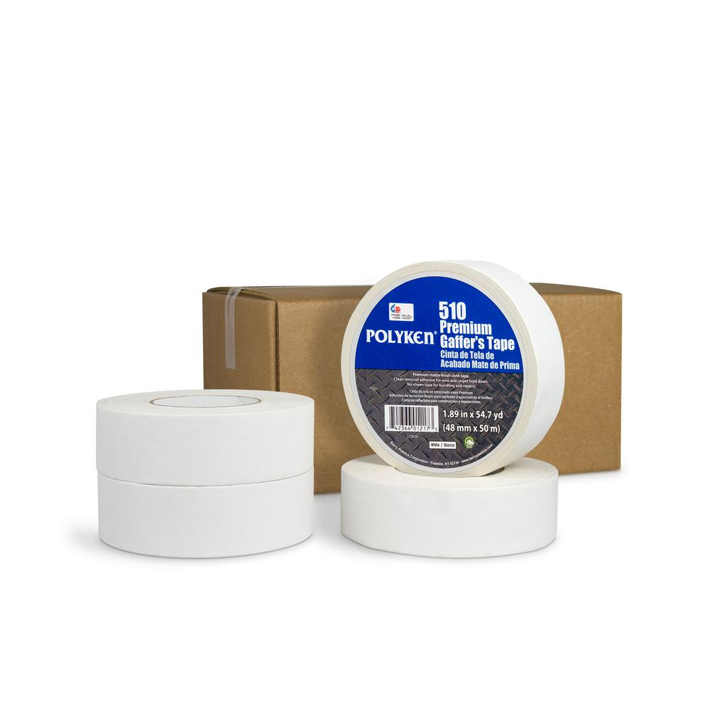 Polyken 1.89 in. x 54.7 yd. 510 Professional-Grade Gaffer Tape in White (4-Pack)