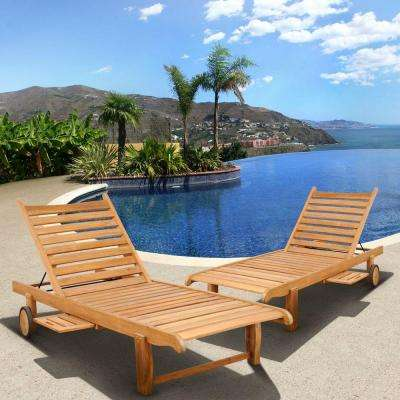 Cairo Teak Patio Chaise Loungers 2-Set