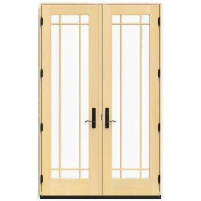 60 in. x 96 in. W-4500 White Clad Wood Left-Hand 9 Lite French Patio Door w/Lacquered Interior