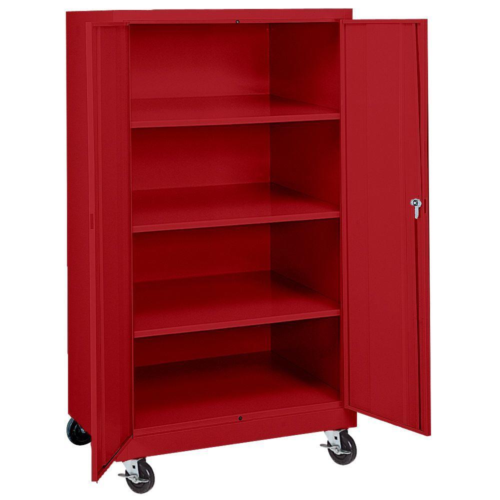 Sandusky 66 in. H x 36 in. W x 24 in. D Mobile Steel Transport Cabinet in Red