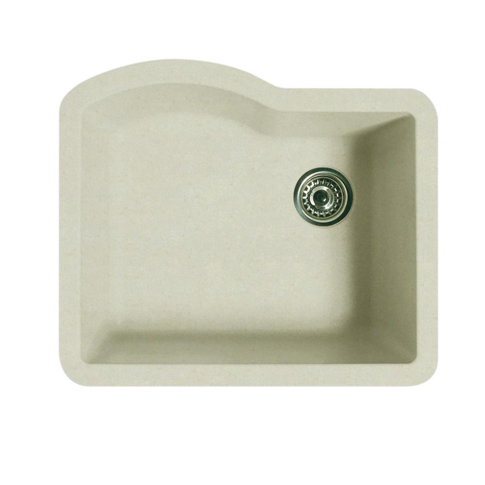 Undermount Granite 24 in. 0-Hole Single Basin Kitchen Sink in Granito