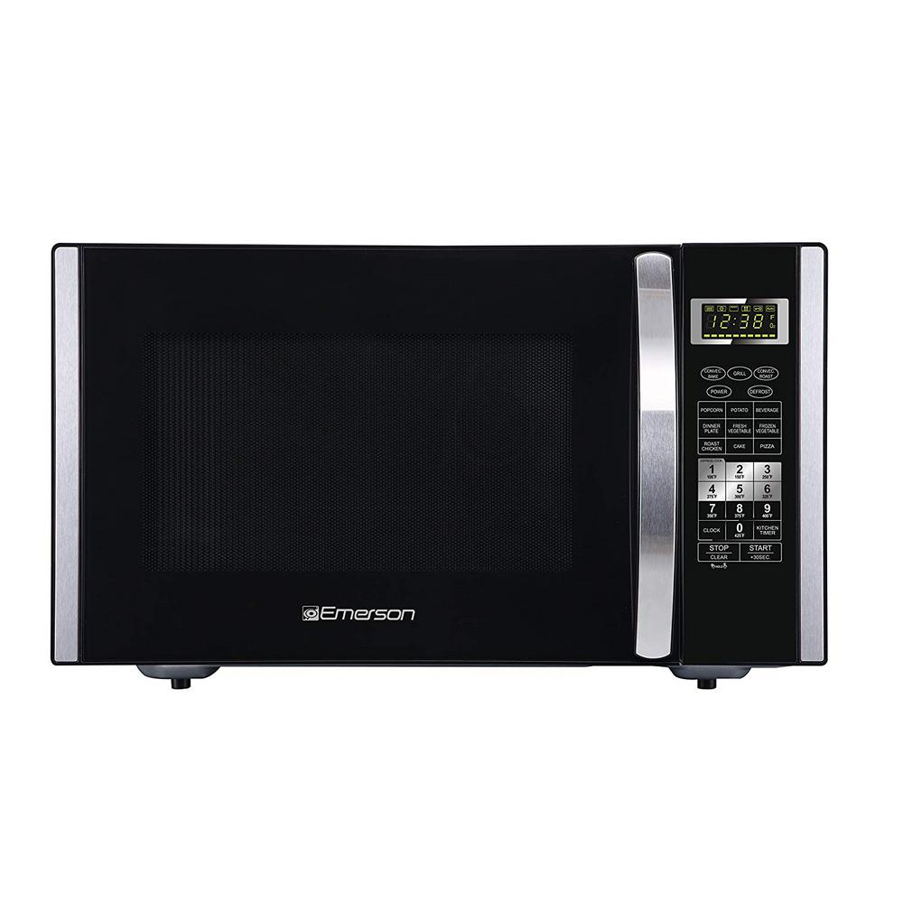 Emerson 1.5 cu. ft. 1000-Watt Countertop Convection and Griller Microwave Oven, Stainless Steel and Black