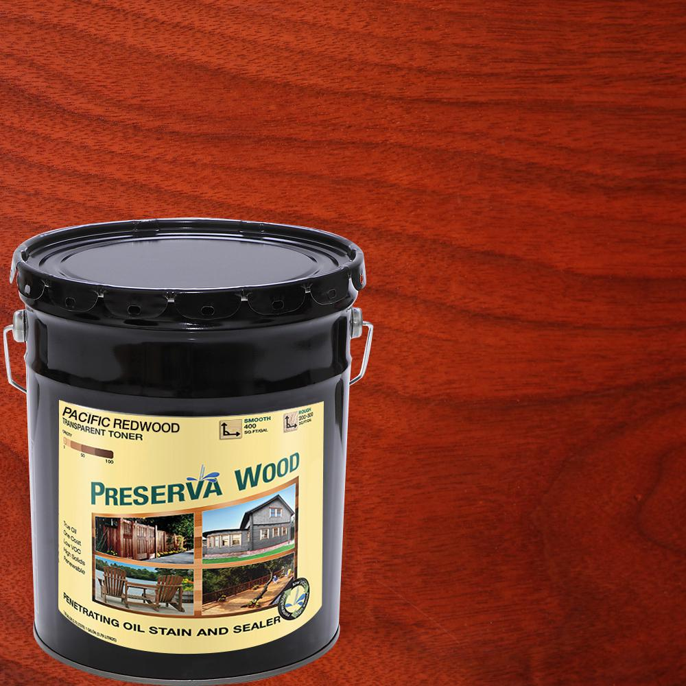 Preserva Wood 5 Gal Oil Based Pacific Redwood Penetrating Exterior Stain And Sealer