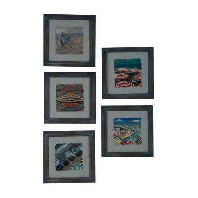 "16 in. x 16 in. ""Beach Umbrellas"" Hand Painted Framed Wall Art (Set of 5)"