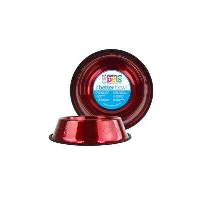 1.25 Cup Embossed Non-Tip Stainless Steel Dog/Cat Bowl, Candy Apple Red