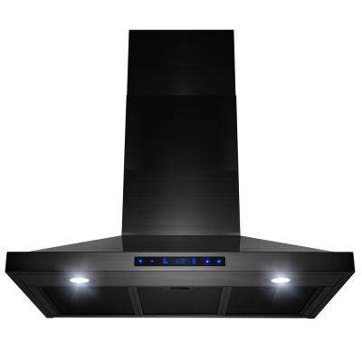 30 in. 450 CFM Wall Mount Kitchen Range Hood with Touch Panel in Black Stainless Steel
