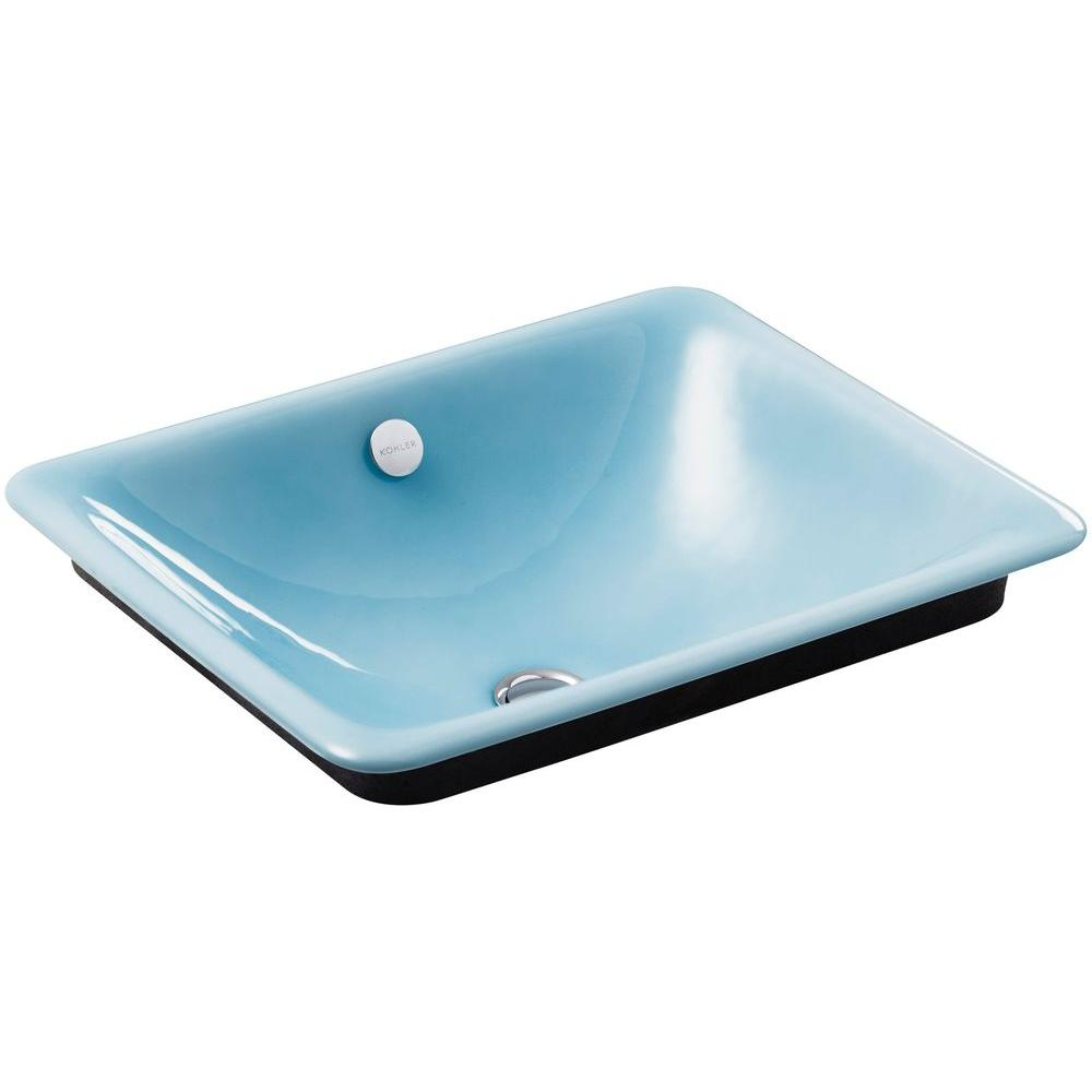 KOHLER Iron Plains Above Counter Cast Iron Bathroom Sink in Vapour ...