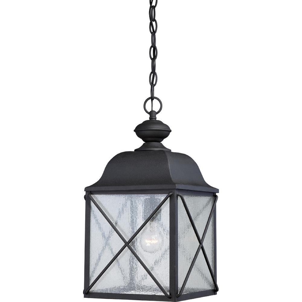 Kylee Textured Black 1-Light Outdoor Hanging Lantern