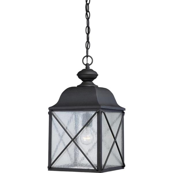 Kylee Textured Black 1-Light Outdoor Hanging Lantern