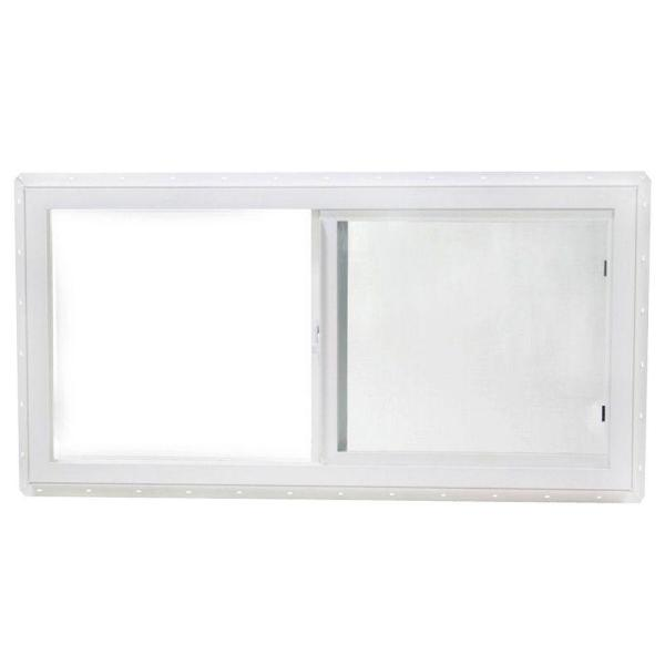 47.5 in. x 23.5 in. Utility Left-Hand Single Slider Vinyl Window Single Glass and Screen - White