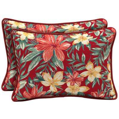 Ruby Clarissa Tropical Reversible Oversized Lumbar Outdoor Throw Pillow (2-Pack)