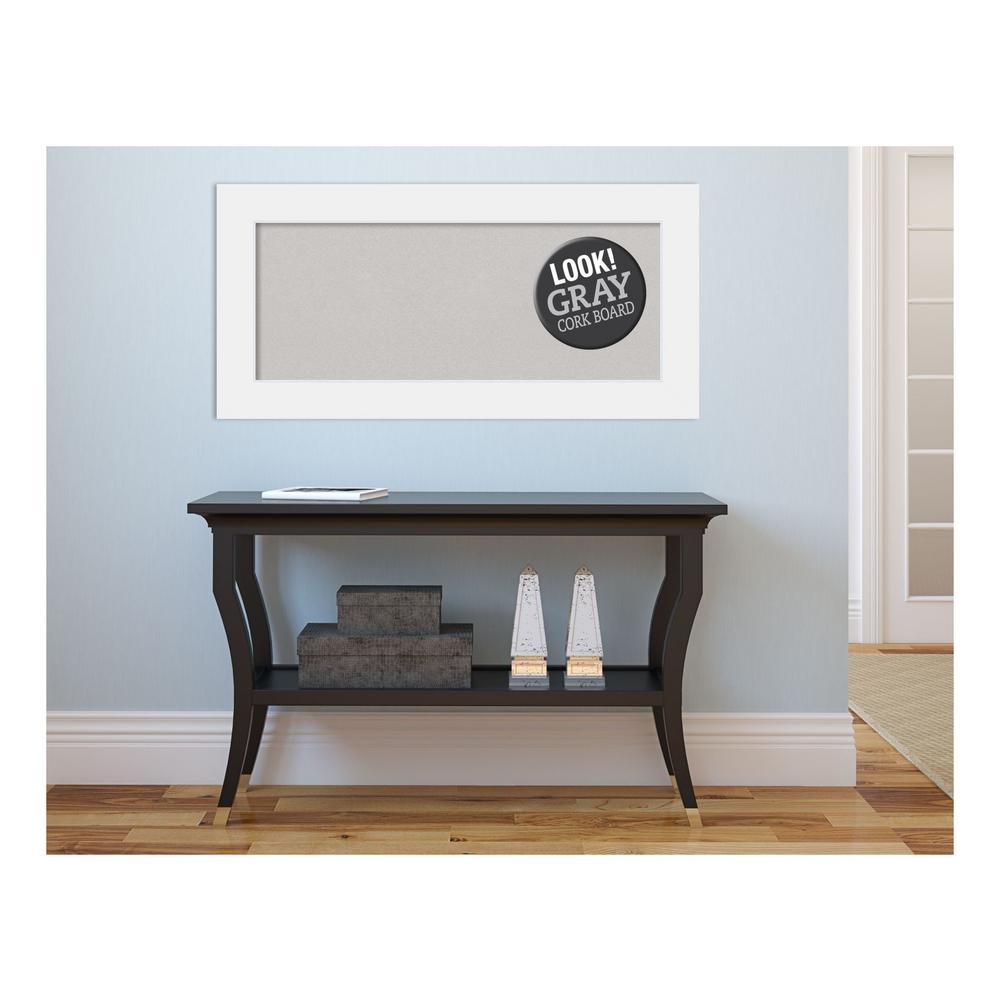 Corvino White Wood 35 in. x 17 in. Framed Grey Cork Board