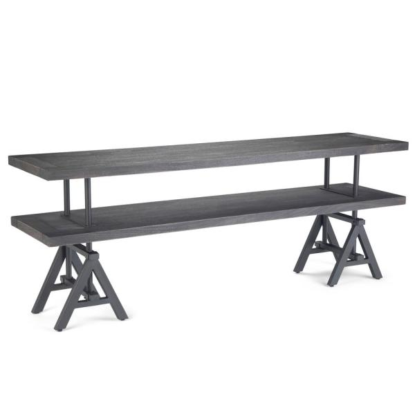 Sklar 72 in. Distressed Dark Brown Wood TV Stand Fits TVs Up to 72 in. with Open Storage