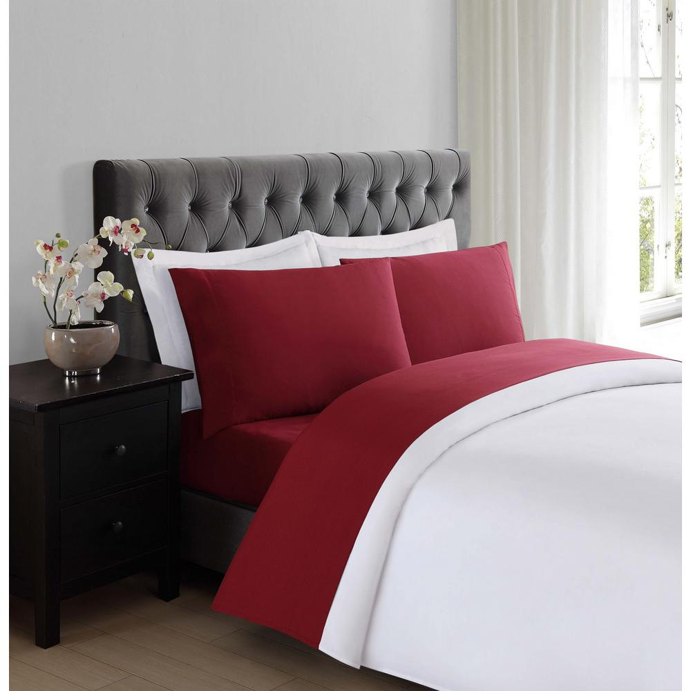 Great Truly Soft Everyday Burgundy Twin Sheet Set