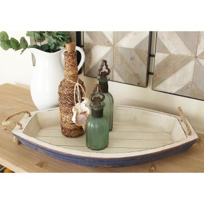 Distressed White Wooden Boat-Shaped Decorative Trays (Set of 2)