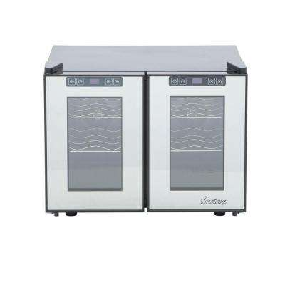 19.75 in. 12-Bottle Dual-Zone Touch Screen Thermoelectric Mirrored Wine Cooler