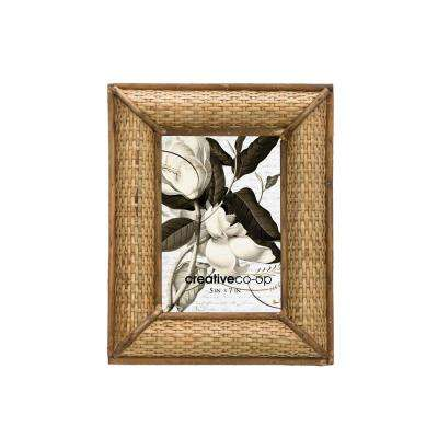 5 in. x 7 in. Brown Handwoven Rattan Picture Frame