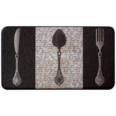 French Utensils 18 in. x 30 in. Faux Leather Comfort Kitchen Mat