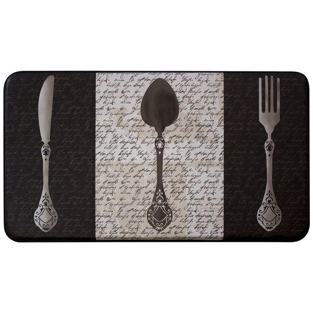French Utensils 18 in. x 30 in. Faux Leather Comfort Kitchen