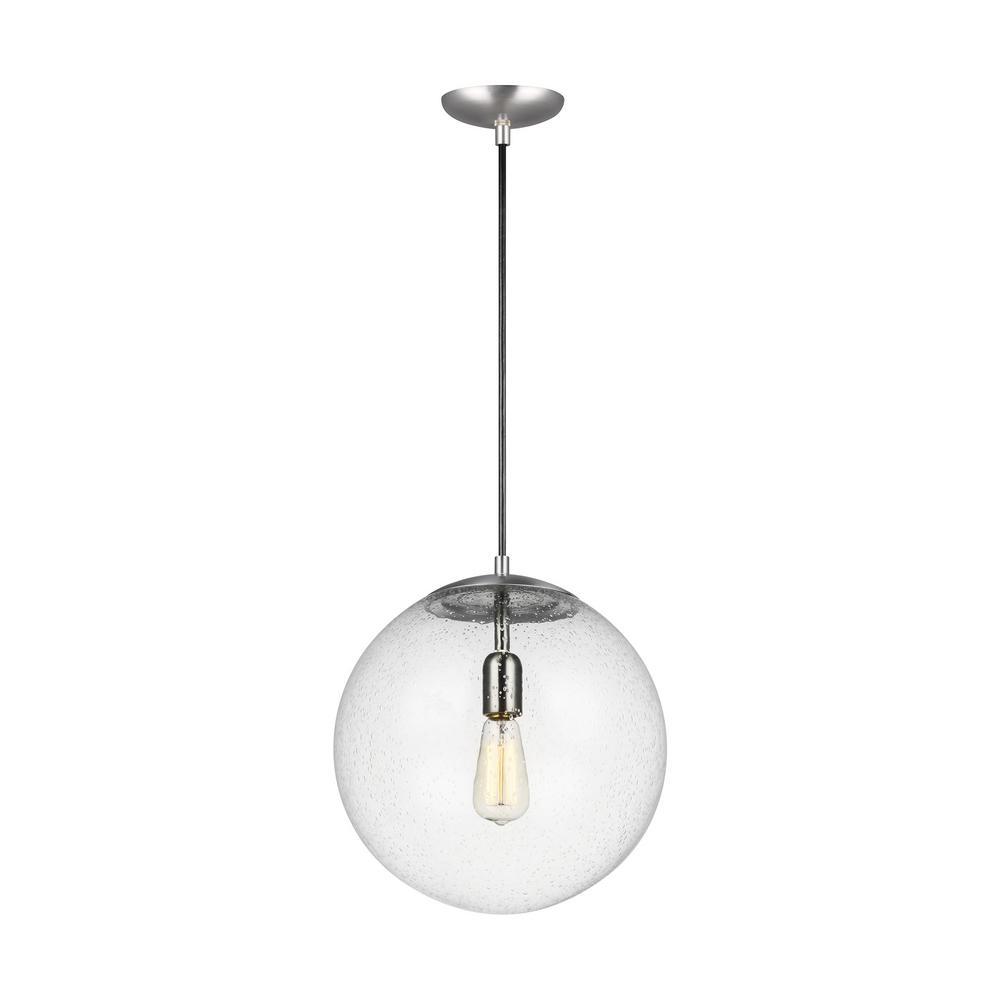 Hanging Globe 1-Light Satin Aluminum Pendant