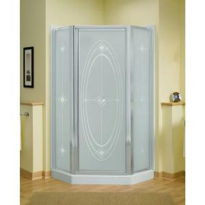 Sterling Intrigue 36-1/8 inch x 72 inch Neo-Angle Shower Door in Silver with Handle by STERLING