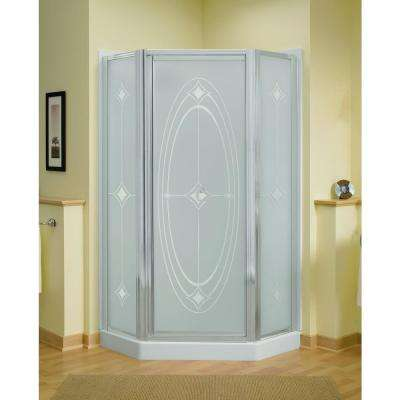 Intrigue 36-1/8 in. x 72 in. Neo-Angle Shower Door in Silver with Handle