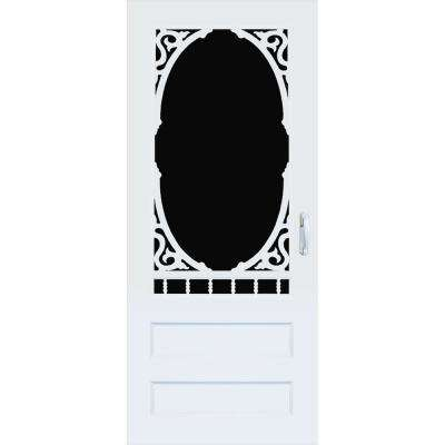 32 in. x 80 in. Carling White Vinyl Screen Door