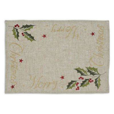 Natural Merry Christmas Embroidered Placemat (Set of 6)