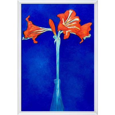 """""""Amaryllis with Moderne Blanc Frame """" by Piet Mondrian Oil Painting"""