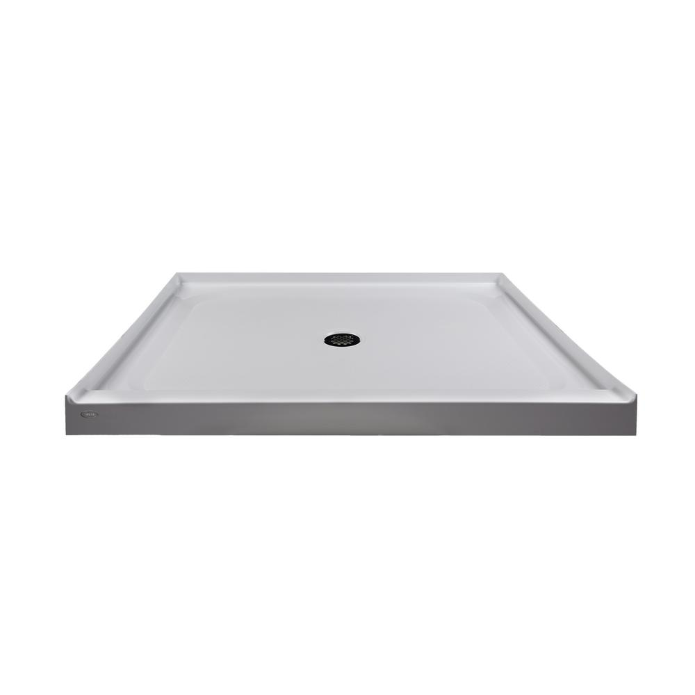 JACUZZI 48 in. x 42 in. Center Drain 3.19 in. Shower Base in White