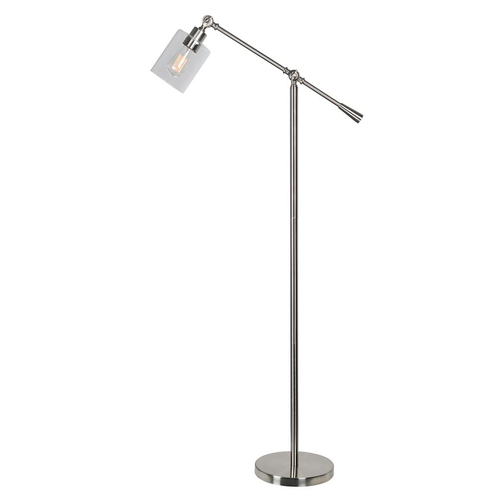 Kenroy Home Thornton 56 in. Steel Floor Lamp with Clear Glass Shade