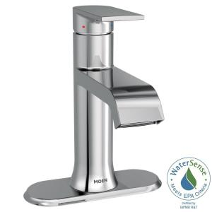 Moen Genta Single Hole Single-Handle Bathroom Faucet with Drain Assembly in Chrome by MOEN