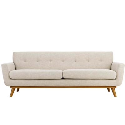 Engage 90.5 in. Beige Polyester 4-Seater Tuxedo Sofa with Square Arms