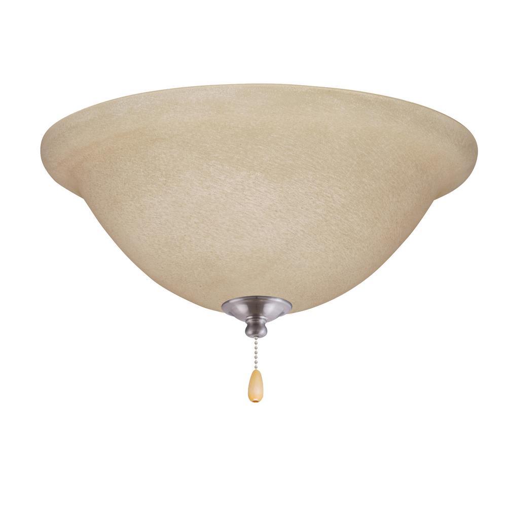 Amber Mist 3-Light Brushed Steel Ceiling Fan Light Kit