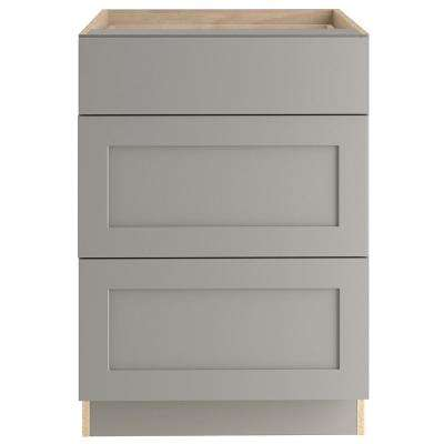 Cambridge Assembled 24x34.5x24 in. Base Cabinet with 3-Soft Close Drawers in Gray