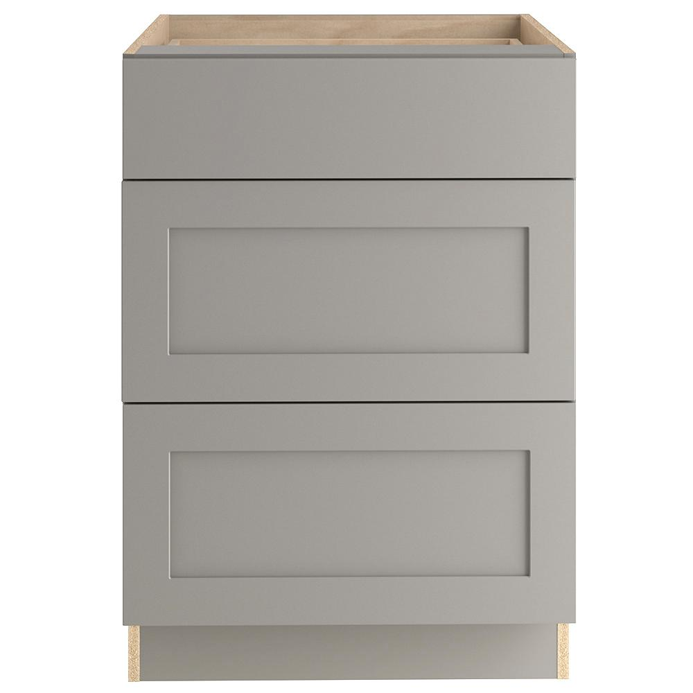 Hampton Bay Cambridge Shaker Assembled 24x34.5x24 in. Base Cabinet with 3-Soft Close Drawers in Gray -  CM2435D-KG