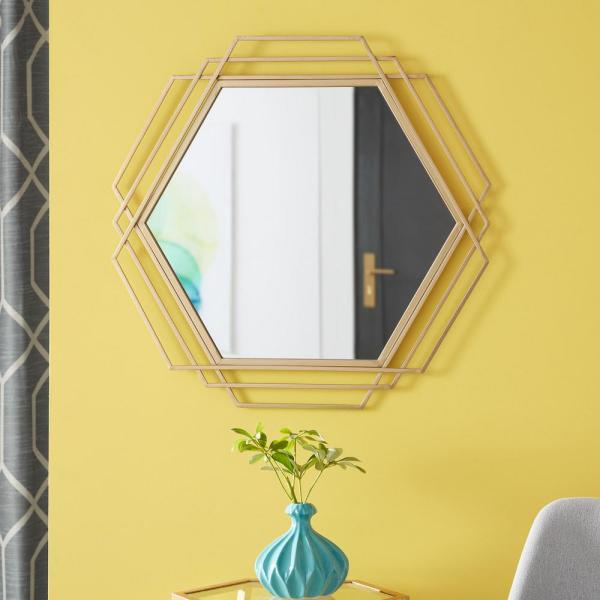 Stylewell Medium Hexagonal Gold Modern Accent Mirror 26 In H X 27 In W 18mj2374 The Home Depot
