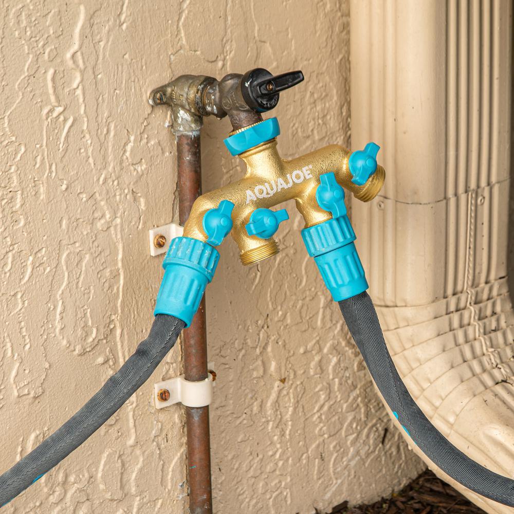 Aqua Joe 4 Way Garden Hose Splitter Aj Fs4w The Home Depot