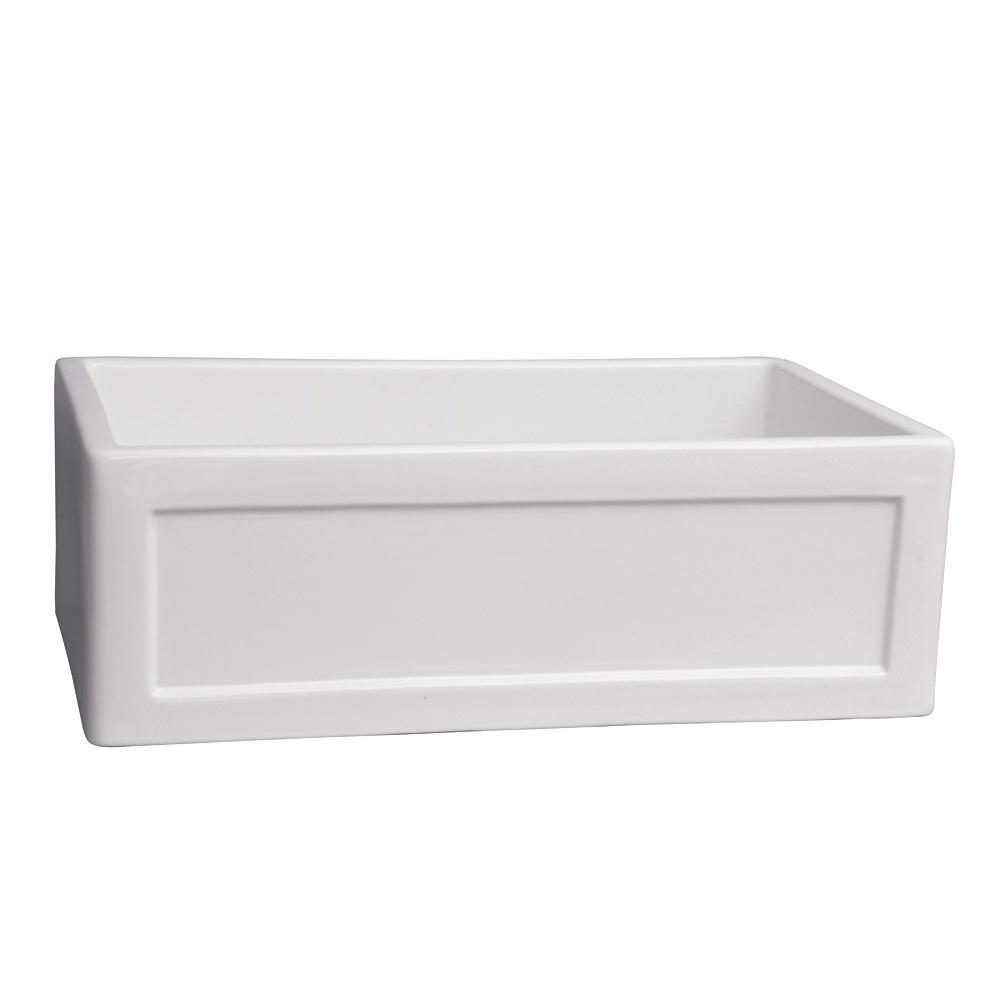 Shop Barclay White Single Basin Apron Front Farmhouse: Barclay Products Ellyce Farmer Sink Fireclay 29 In. 0-Hole