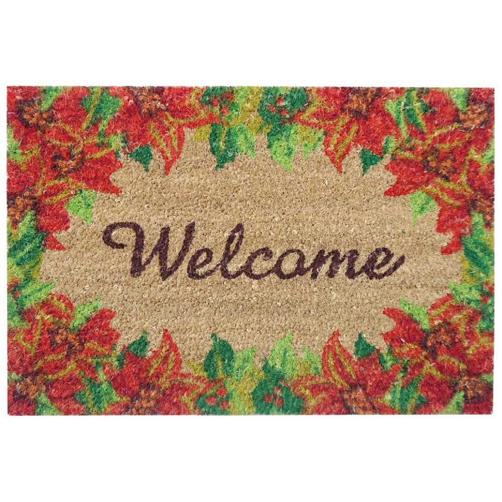 Poinsettia Welcome 16 in. x 24 in. SuperScraper Vinyl/Coir Door Mat